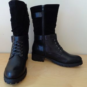 Penny Loves Kenny Black Earl Lace Up Buckle Boots